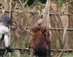 screenshot from documentary on a Sepik River initiation